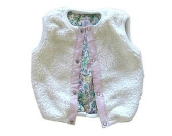 Baby Girl Vest - Cream Faux Fur , Reversible