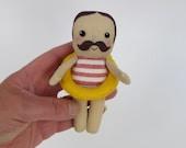 little swimming gentleman, moustache man is swimsuit, moustache man doll