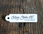 """100 Custom tags - .5""""x 1.75"""" -rectangular Customized Small Price Tags Jewelry Hang Tags Labels LT03-W"""