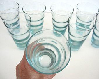 Vintage Glass Tumbler Set of 4 Aqua Ripple Blue Beverage Ice Tea Highball Optic Barware Drinking Glasses Libbey Glassware  Mid Century Decor