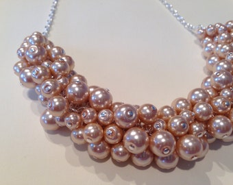 Champagne Pearl Silver Statement Necklace