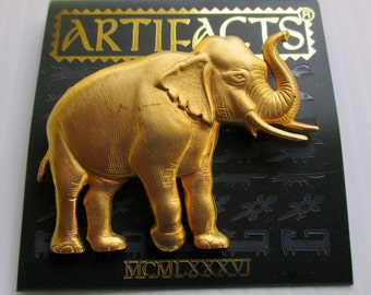 Vintage JJ Jonette Jewelry, Elephant pin brooch, Unique gift under 20,  Artifacts collectible made in USA, New Old Stock