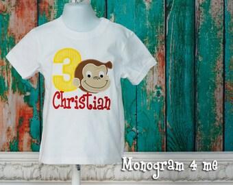 Curious George birthday shirt, monkey birthday, monkey