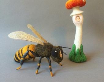 Queen Bee Anthropomorphic  Needlefelt Art Model