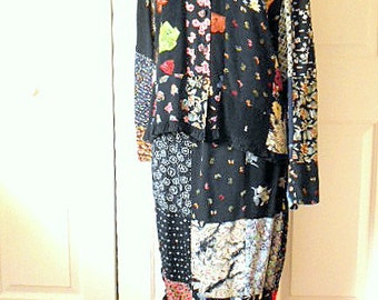Vintage patchwork two piece Skirt and Top