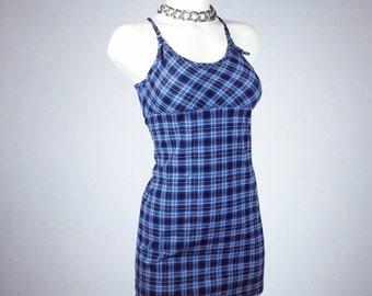 90's Clueless Blue Checker Print Mini Dress // XS - S