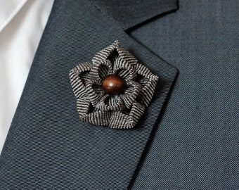 Autum brown, flower lapel pin, Mens lapel flower Boutonniere, Linen Lapel Flower pin, rose boutonniere, flower lapel pin, mens gift, rustic