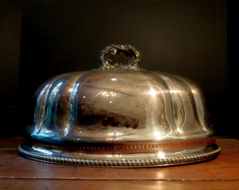 Vintage Silver Plate Dome / Cover / Large Lid / Hotel Serving / Metal Cloche / Thanksgiving Dinner Plate Dome  / Grape Leaves