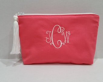 Pencil Case - Back to School - Coral Tassel Bag - Personalized Pouch - Pencil Pouch - Fabric Pouch - Small Pouch - Zipper Pouch - Monogram
