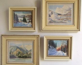 Vintage Landscape Prints / Set of 4 Vintage Framed Landscape Prints / Winterscapes Mountains Snow / Woodland Cabin Decor