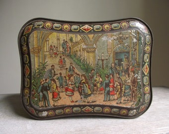 Huntley and Palmers Biscuit Tin Titled Children's Party , Early British Lithography Tin , 1885 Collectible Advertising Tin