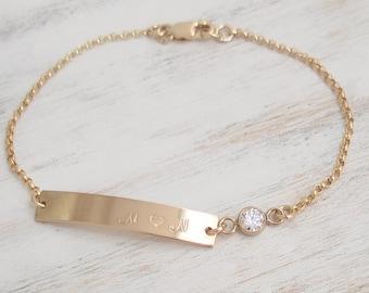 Gold Id Bracelet Etsy