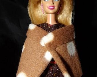 Fashion Doll Coordinates - Brown & white dot wrap cape - es353