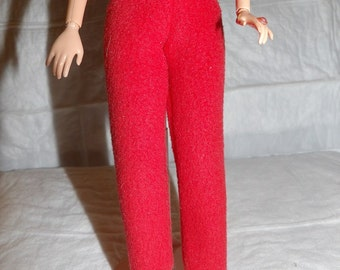 Fashion Doll Coordinates - Solid red Fleece Yoga pants - es400