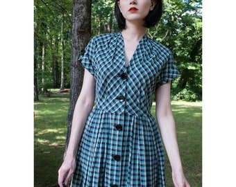 1950s . blue and black plaid day dress . size small