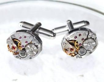 GIRARD PERREGAUX Steampunk Watch Cufflinks - Prestigious Swiss Vintage Silver Watch Movement Men Steampunk Cufflinks Wedding Gift Jewelry