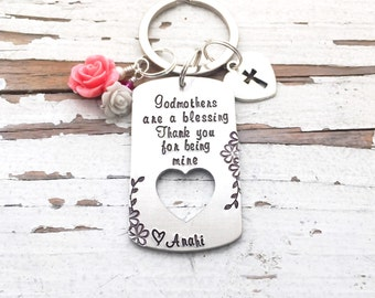 Godmother keychain hand stamped godmothers are a blessing thank you for being mine christening gift god mother key chain baptism baptismal
