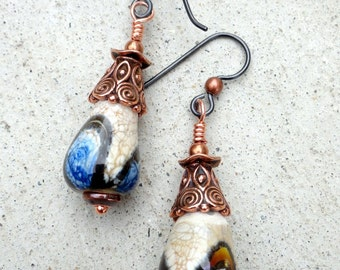 Lampwork Earrings, Boho Earrings, Copper Earrings, Flamework, TierraCast, Niobium Ear Wires, Hypo Allergenic, Emerald City Glass, Art Beads