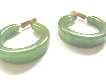 Bakelite Creamed Spinache Earrings