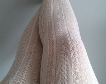 White Cream Tights Skinheadgirl stockings lace pantyhose suededead