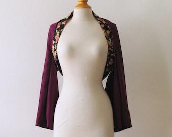 purple japanese kimono shrug,mapple leaves on black  S size