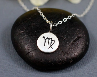 Virgo Necklace Sterling Silver | Virgo Jewelry | Tiny Virgo Sign Necklace | Virgo Zodiak Necklace | Virgo Charm Necklace
