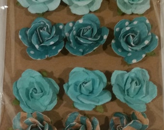 Turquoise Paper Flowers-new