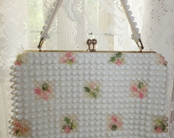 Vintage Grandee Bead White Beaded Pink Rose Floral Summer Garden Party Handbag Purse