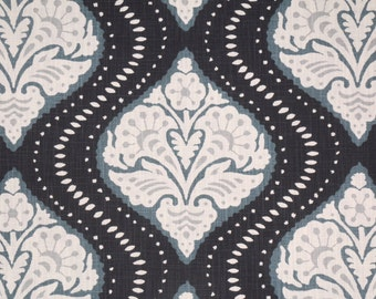 Designer Robert Allen throw pillow-midnight blue-teal-gray-ivory-BOTH SIDES-slubbed cotton-ogee-decorative pillow cover-medallion-accent