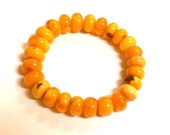 Baltic Amber Bracelet Antique Butterscotch Rondelle Beads 25.1 gram
