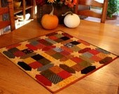 Quilted Table Topper, Country Table Topper, Primitive Decor,  26 1/2 x 26 1/2