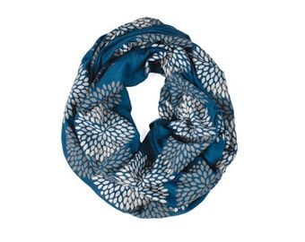 INFINITY SCARF - Screen Printed - Gray Flowers on Midnight