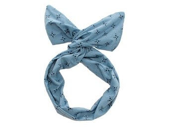 Twist Hair Scarf - Screen-printed Wire Headband - Navy Compass on Chambray