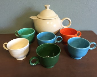 Fiestaware Teapot & Cups