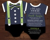 10 Bow tie Baby Shower Invitations, Navy and Green Suspenders invitation, Onesie Die Cut shaped, Little Mister, gentleman, any color