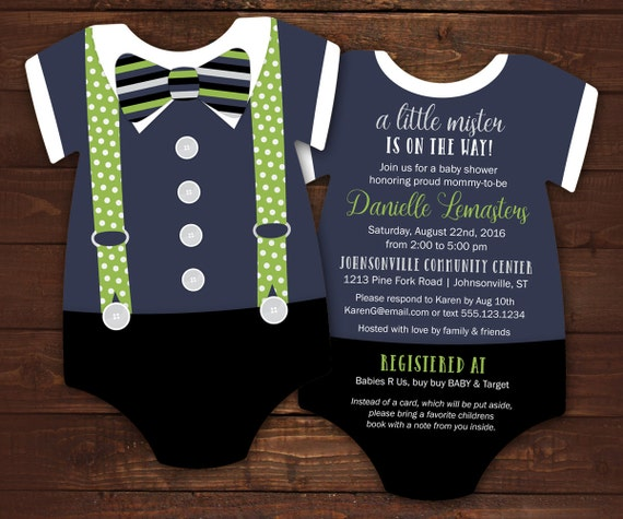 10 Bow Tie Baby Shower Invitations Navy And Green Suspenders