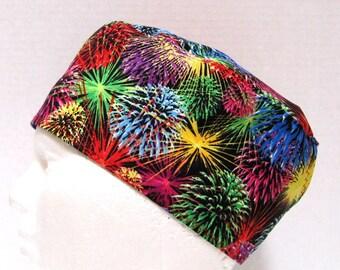 Mens Scrub Cap or Surgical Cap, Fireworks on Black