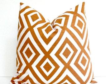 Orange Geometric Designer Pillow Cover cream Modern accent cushion hollywood regency trellis fiorentina david hicks style tangerine Fall