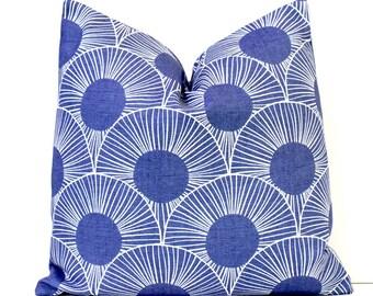 Blue Modern Deco Designer Pillow Accent Cushion Cover hollywood regency white royal cobalt geometric circles scallop mod art deco bright
