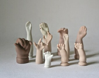 Small Standing Porcelain Bisque Doll Arms for Altered Art Doll Making and Decor
