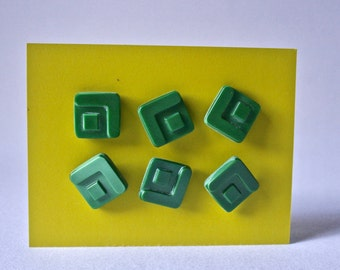 6 Mid Century Modern Vintsge Square Buttons for Sewing and Crafts