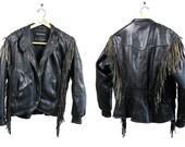 Vintage Vtg Vg HARLEY DAVIDSON American Cowhide Black Leather Fringe Motorcycle Jacket Easy Rider Bike Gang Biker Unisex Adults Size 40