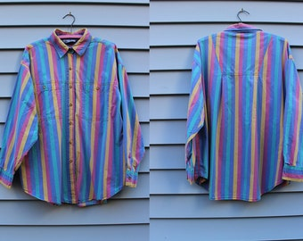Vintage Vtg Vg 1990's 90's 1980's 80's Multicolored Rainbow Button Up Long Sleeved Shirt Men's Women's Cotton Bonjour Hipster Grunge LA