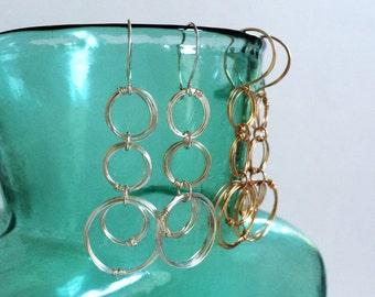 Silver Circles Drop Earrings Sterling Silver Hoop Dangles Silver Coiled Rings Earrings Open Circle Earrings Unique Modern Wire Jewelry