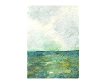 "Ocean watercolor, abstract watercolor, Ocean Art, Abstract Landscape, Original Ocean Landscape Watercolor Painting, Sky art 2.5 x 3.5"" ACEO"