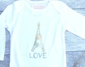 Eiffel Tower - Paris France - Gold  - Baby long sleeve Onesie