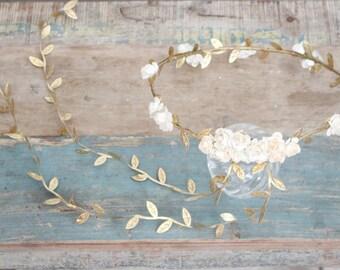 Flower & Leaf Crown, Bridal Headpiece, Wedding headpiece, Destination Wedding, Flower Head Wreath, gold, silver, holiday chrismas
