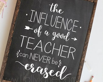 The Influence of a Good Teacher can Never Be Erased -quote INSTANT DOWNLOAD digital printable art