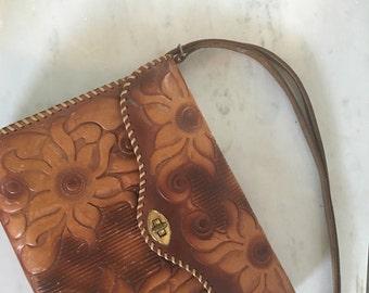 Vintage 1960's Tooled Leather Shoulder Bag