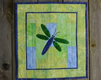 Small Quilted Wall Hanging - Dragonfly